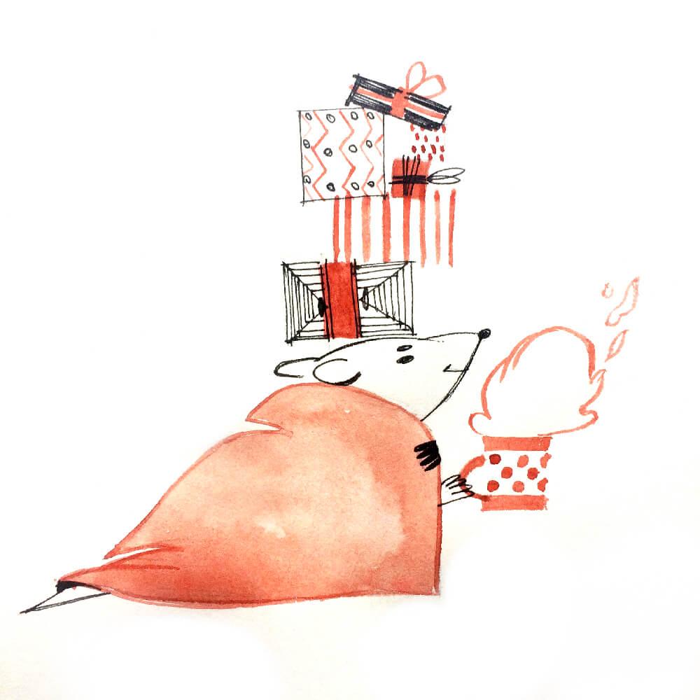 Мышка с кружкой