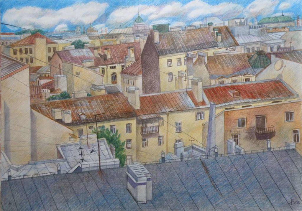 Серия «Плывут облака над городом», лист №1