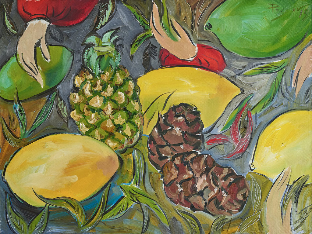 Ананас, шишки и манго