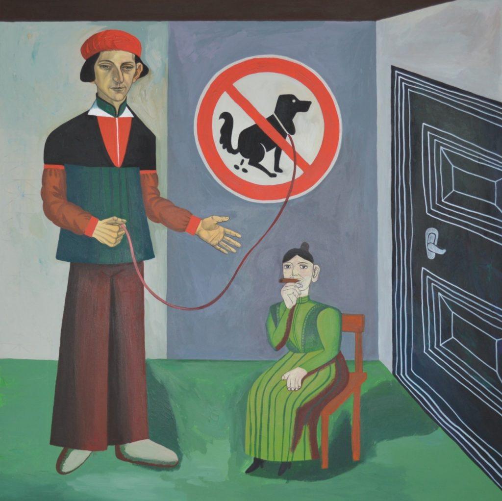 Картина Казимир, прогуливающий собаку